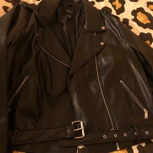 Plus size brand new faux leather motor jacket